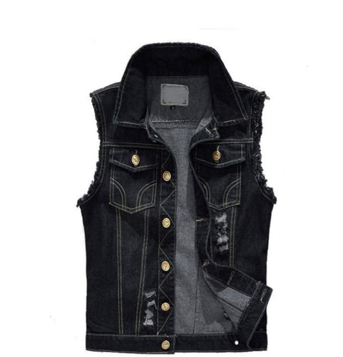 Mens Street Style Black Jean Vest -  Look-fly.ca