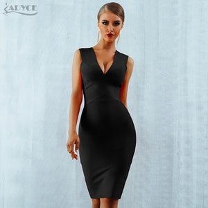 Sexy Deep V-Neck Sleeveless Bodycon Celebrity Party Dress