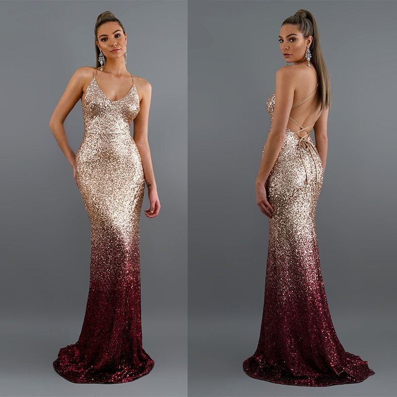 Mermaid Maxi Gold Evening Party Dress -  Look-fly.ca