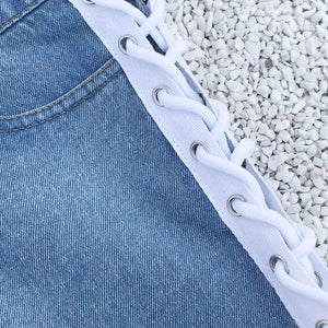 Jeans Shorts White Black Blue -  Look-fly.ca