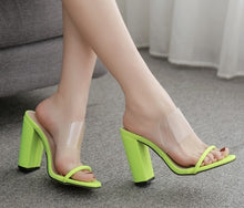 Load image into Gallery viewer, Clear Transparent Cut Out Shoes Thick Block High Heel Slide Mules Chunky Heel Pumps