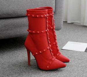 Red Female Boots Fine With Stretch