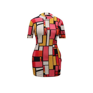 Color Block Mini Dress S-2XL -  Look-fly.ca