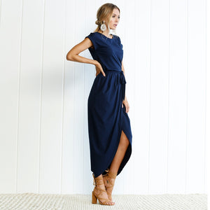 Long Casual Short-Sleeved Waistline Asymmetrical Dress
