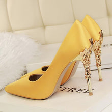 Load image into Gallery viewer, Metal Heel Flower High Shoes Silk Elegant Pumps Women Heels Shoes