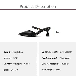 Genuine Leather Buckle Strap Solid Shoes Fashion Med Strange Style Heel Sandals