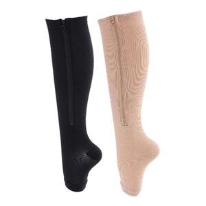Women Fitness Stovepipe socks Zipper Compression Yoga Socks Zip Leg Support Knee Open Toe Sports Sock