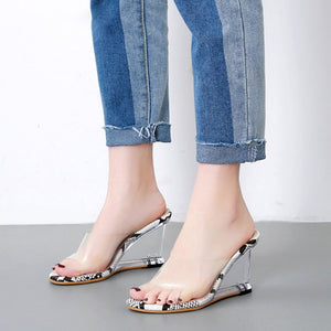 PVC Leopard Platform Wedge Sandals Slippers Transparent Ultra High Heels Shoe