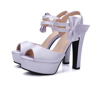 High-heeled Fish Mouth Shoes Bow Sexy Rough With Waterproof Platform Roman