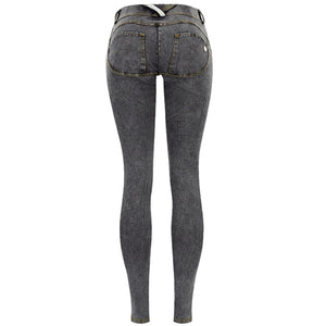 Elastic Grey Jeans Plus Size -  Look-fly.ca
