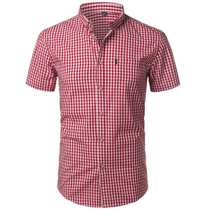 Short Sleeve Cotton Men's Dress Shirts Casual Button Down Men's Shirt