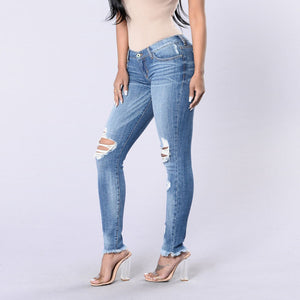 Ripped Jeans Big Elasticity Stretch Trousers Skinny Pants