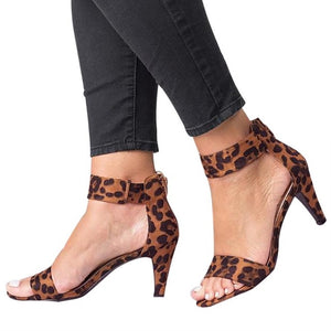 Leopard High Heels Buckle Strap Female Ladies Woman Sandal Shoes Girls