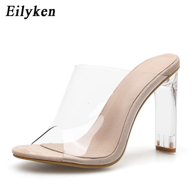 Crystal Square heel Transparent Clear High Heels Summer Slippers Sandals Pumps