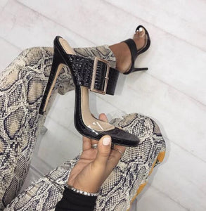 Thin Heels Sandal Buckle Slides Shoes