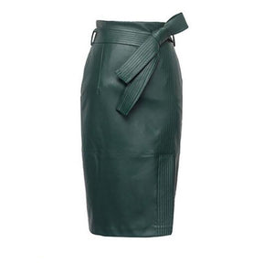 Plus Size European Style High Waist Split Pencil PU Faux Leather Skirt