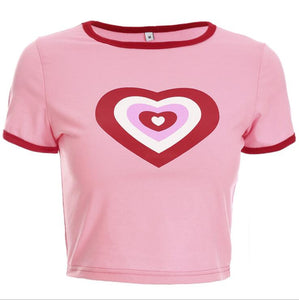Summer Love heart Print Short Sleeve T-Shirt -  Look-fly.ca