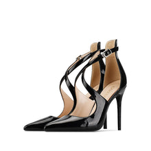 Load image into Gallery viewer, Women Sandals Thin Heel High Heels Sexy Flock Lace up Pointed Toe  party  Handmade