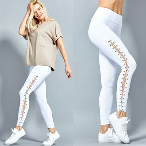 High Waist Fitness Leggings Lace Up Black White Solid Trousers