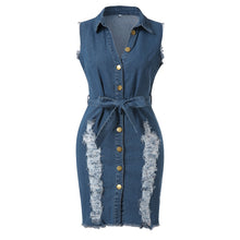 Load image into Gallery viewer, Lace Jeans Long Shirt Dress -  Look-fly.ca