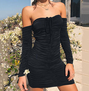 Long Sleeve Slim Elastic Bodycon Party Dresses