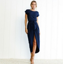 Load image into Gallery viewer, Long Casual Short-Sleeved Waistline Asymmetrical Dress