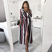Load image into Gallery viewer, Striped Button Shirt Bohemian Dress Sexy Deep Loose Dress