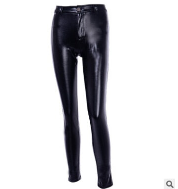 Faux Leather Pants Women Push Up Black High Waist Pants