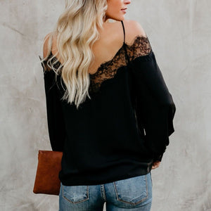 Straps Lace Lace Shirt Long Sleeve Loose Shirt -  Look-fly.ca