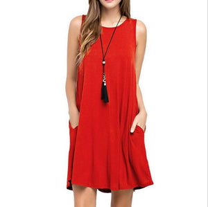 Summer Dress Women Dress Sleeveless Boho Casual Shift Dresses