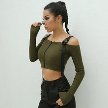 Load image into Gallery viewer, OFF SHOULDER BUCKLE STRAP CROP TOP SHIRT -  Look-fly.ca