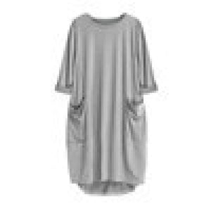 Feitong Plus Size Boho Womens Dress Ladies Casual Pocket Loose Dress Crew Neck Mini Tops Dress