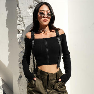 OFF SHOULDER BUCKLE STRAP CROP TOP SHIRT -  Look-fly.ca