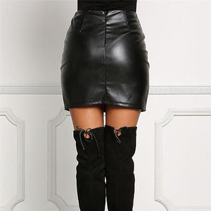 Leather Pencil Bodycon High Waist Lace Up Skirt Black Mini A-Line Skirts