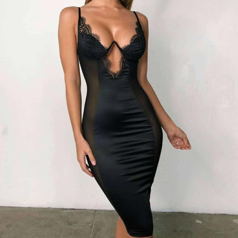 Satin Lace Side Sheer Cups Party Dress See Through
