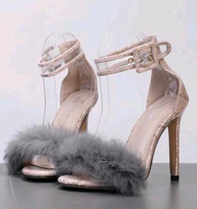 Thin Heels Ankle Strap Fluffy Shoes