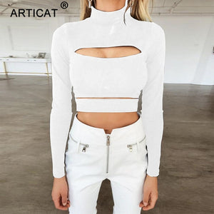 Long Sleeve Bandage Crop Top Casual T-Shirt -  Look-fly.ca