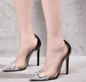 Clear Transparent High Heel Dress OL Shoes Patchwork Faux Snakeskin Print Court Shoes