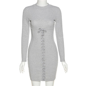 Sexy Long Sleeve Grey Solid Casual Dress