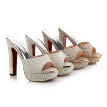Load image into Gallery viewer, High Heels Sandals Fashion Beading Platform Peep Toe Summer Shoes  Elegant