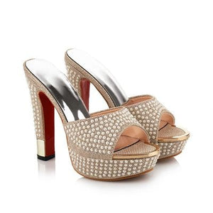 High Heels Sandals Fashion Beading Platform Peep Toe Summer Shoes  Elegant
