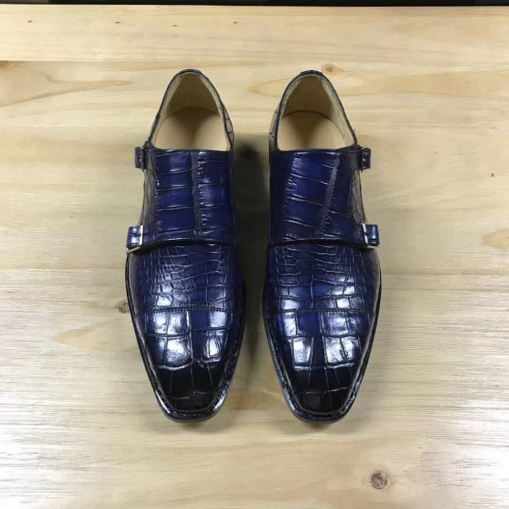 Mixed Color Real Crocodile Belly Skin Men Shoes