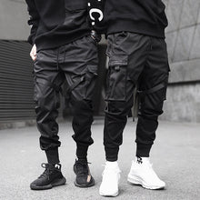 Load image into Gallery viewer, Black Harem Pants Multi-Pocket Ribbons Sweatpants Streetwear Casual Pants M-3XL