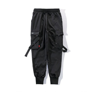 Black Harem Pants Multi-Pocket Ribbons Sweatpants Streetwear Casual Pants M-3XL