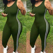 Load image into Gallery viewer, Striped Tight Romper One Piece Leggings Pants Jumpsuit Athletic Romper