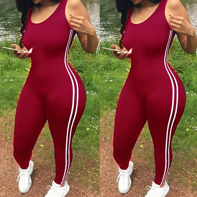 Striped Tight Romper One Piece Leggings Pants Jumpsuit Athletic Romper