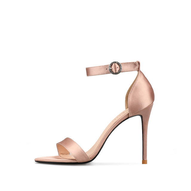 Satin Round Fine With Word Sandals Fashion High Heels Size 32-46