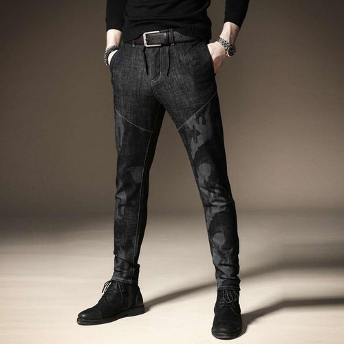 Camouflage Velvet Jeans Stitching Pants