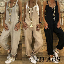 Load image into Gallery viewer, Vintage Cotton Linen Loose Party Long Harem Overalls Rompers Jumpsuits