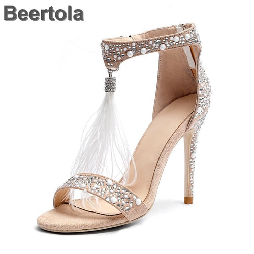 Zipper Sexy Dress Wedding Shoes Woman With Feathers Rhinestone Cover Heel